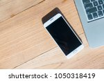 white smart phone with blank... | Shutterstock . vector #1050318419