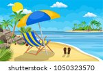 landscape of wooden chaise... | Shutterstock .eps vector #1050323570