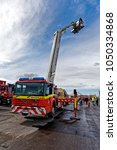 Small photo of Hullavington, Wiltshire, UK - September 8, 2013: A Fire and Rescue Mercedes Econic Aerial Ladder Platform