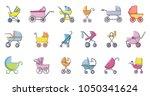baby carriage icon set. cartoon ...   Shutterstock .eps vector #1050341624