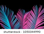tropical and palm leaves in... | Shutterstock . vector #1050344990