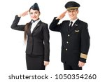 airline captain and stewardess... | Shutterstock . vector #1050354260