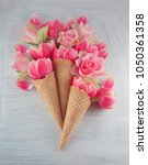 flatlay waffle sweet ice cream... | Shutterstock . vector #1050361358