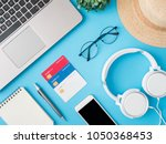 top view online shopping... | Shutterstock . vector #1050368453