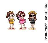 girl in bikini vector. female... | Shutterstock .eps vector #1050373409