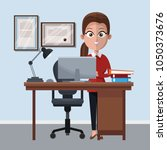 business woman at office...   Shutterstock .eps vector #1050373676