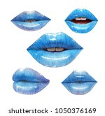 blue lips collection. mouth set.... | Shutterstock .eps vector #1050376169