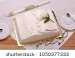 first holy communion cake on... | Shutterstock . vector #1050377333