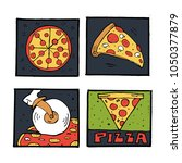 pizza icons  posters  images... | Shutterstock .eps vector #1050377879