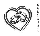 Wedding Ring In Heart Vector Illustration Isolated On White Background