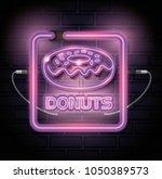 donut sweet neon label | Shutterstock .eps vector #1050389573