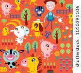 seamless pattern with cute farm ... | Shutterstock .eps vector #1050391106