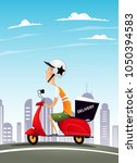 scooter delivery man riding... | Shutterstock .eps vector #1050394583