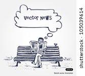 man reading newspaper. hand... | Shutterstock .eps vector #105039614