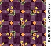 seamless retro 1940s pattern in ... | Shutterstock . vector #1050399173