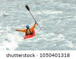 kayaker having fun in white...   Shutterstock . vector #1050401318