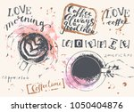hand drawn coffee set with cups ... | Shutterstock .eps vector #1050404876