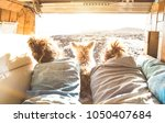 hipster couple with cute dog...   Shutterstock . vector #1050407684