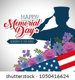 happy memorial day with... | Shutterstock .eps vector #1050416624