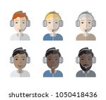 colorful set of six racially... | Shutterstock .eps vector #1050418436