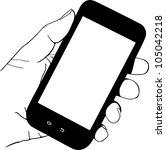 hand holding mobile phone   Shutterstock .eps vector #105042218