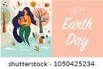 happy earth day vector template ... | Shutterstock .eps vector #1050425234
