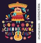 cute mexican man with maracas... | Shutterstock .eps vector #1050425306