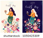 happy earth day vector template ... | Shutterstock .eps vector #1050425309