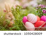 happy easter day  bunny and egg ... | Shutterstock . vector #1050428009