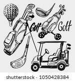 set of golf objects. hand drawn ... | Shutterstock .eps vector #1050428384