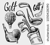 set of golf objects. hand drawn ... | Shutterstock .eps vector #1050428390