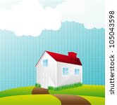 house over landscape with... | Shutterstock .eps vector #105043598