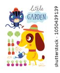 poster with cute animals a... | Shutterstock .eps vector #1050439139