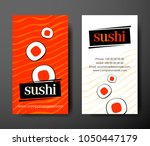 sushi vertical business cards... | Shutterstock .eps vector #1050447179