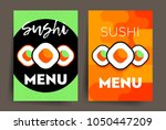 set of two vertical sushi menu... | Shutterstock .eps vector #1050447209