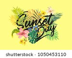 sunset day slogan with tropical ...   Shutterstock .eps vector #1050453110