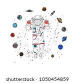 cosmonaut in space. vector...   Shutterstock .eps vector #1050454859