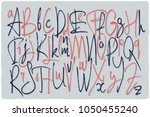 alphabet set of rough tiny... | Shutterstock .eps vector #1050455240