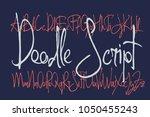 doodle handcrafted thin script...   Shutterstock .eps vector #1050455243