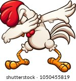 Dabbing Cartoon Chicken. Vecto...