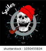 portrait of a pirate skull in a ... | Shutterstock .eps vector #1050455834