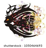 grunge angry fish with blood... | Shutterstock .eps vector #1050464693