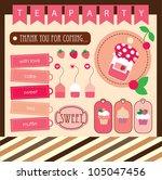 cute tea party scrap collection....   Shutterstock .eps vector #105047456
