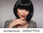 short hair woman model. fashion ... | Shutterstock . vector #1050477914