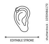 helix piercing hoop linear icon.... | Shutterstock .eps vector #1050486170