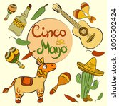 happy cinco de mayo poster with ... | Shutterstock .eps vector #1050502424