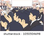 illustration of crowded metro ... | Shutterstock .eps vector #1050504698