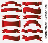 collection of red banner ribbon ... | Shutterstock . vector #105054728