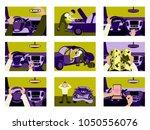 set of illustrations car from... | Shutterstock .eps vector #1050556076
