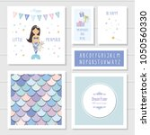 mermaid birthday card templates ... | Shutterstock .eps vector #1050560330